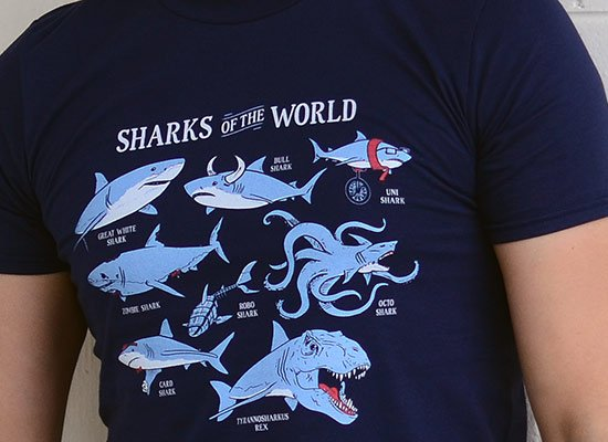 Sharks Of The World on Mens T-Shirt