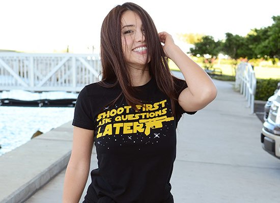 Shoot First Ask Questions Later on Juniors T-Shirt