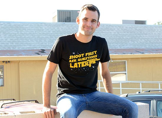 Shoot First Ask Questions Later on Mens T-Shirt