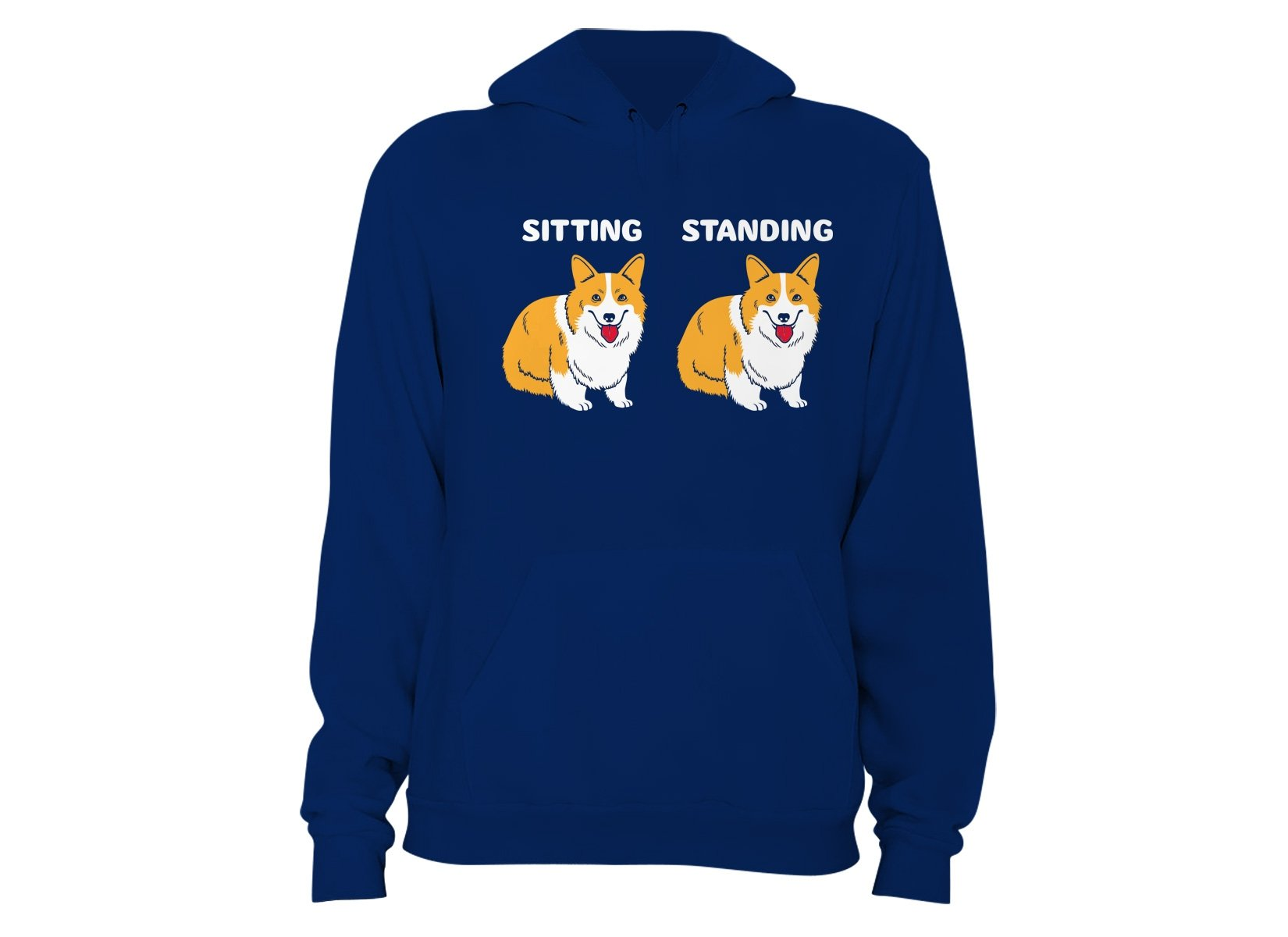 Corgi Sitting And Standing on Hoodie