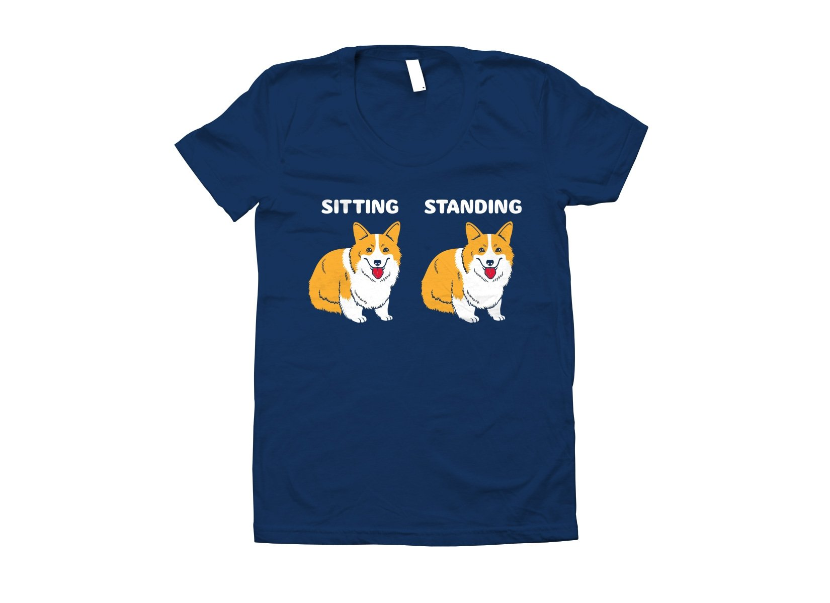 Corgi Sitting And Standing on Juniors T-Shirt