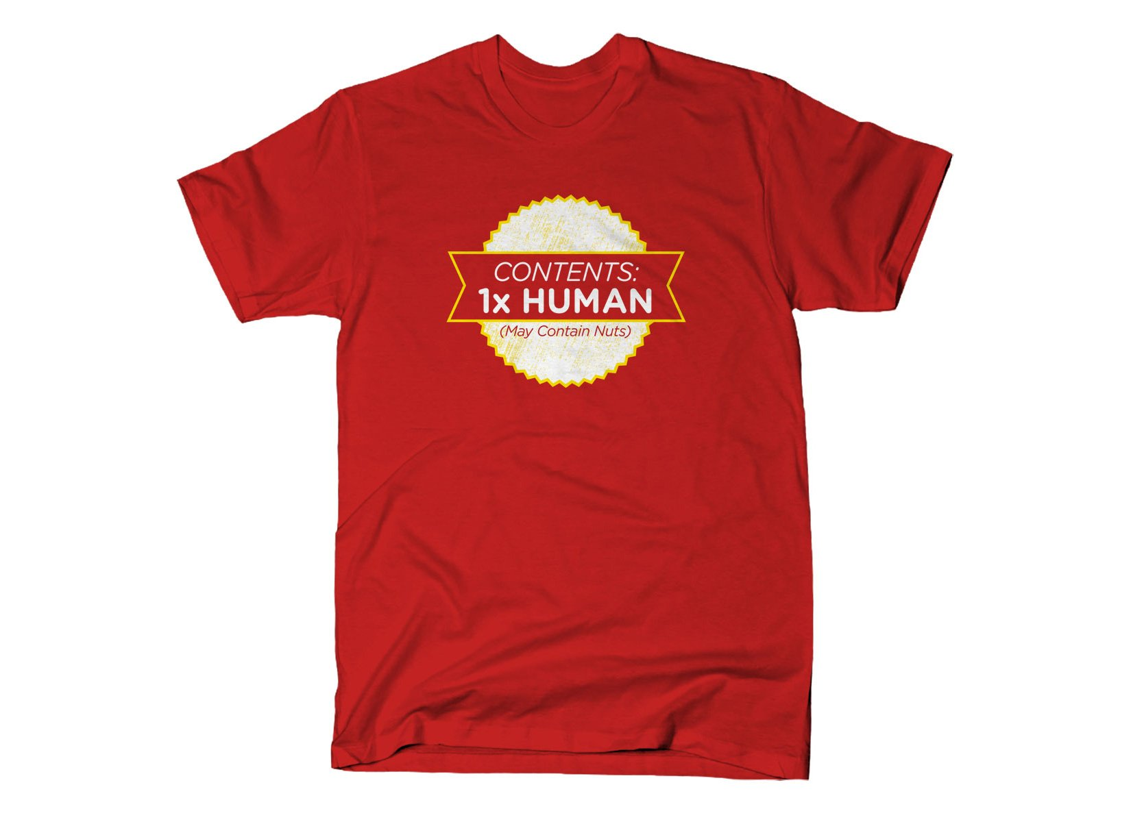 Contents: 1 Human, May Contain Nuts on Mens T-Shirt