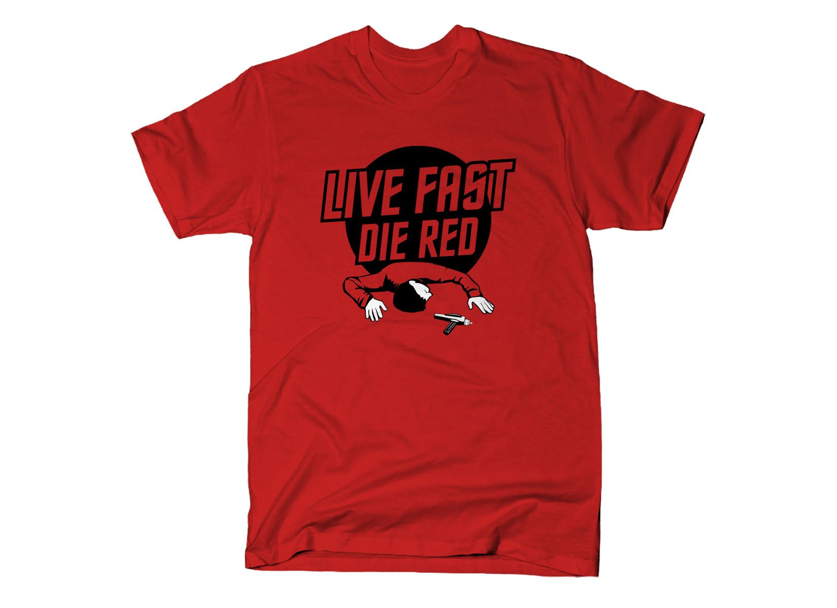 Live Fast Die Red on Mens T-Shirt