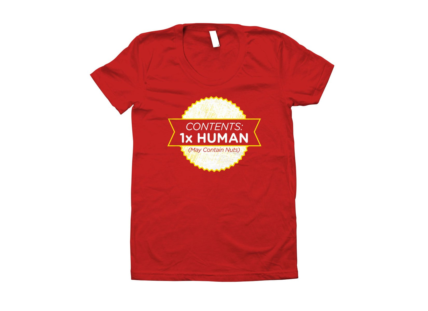 Contents: 1 Human, May Contain Nuts on Juniors T-Shirt