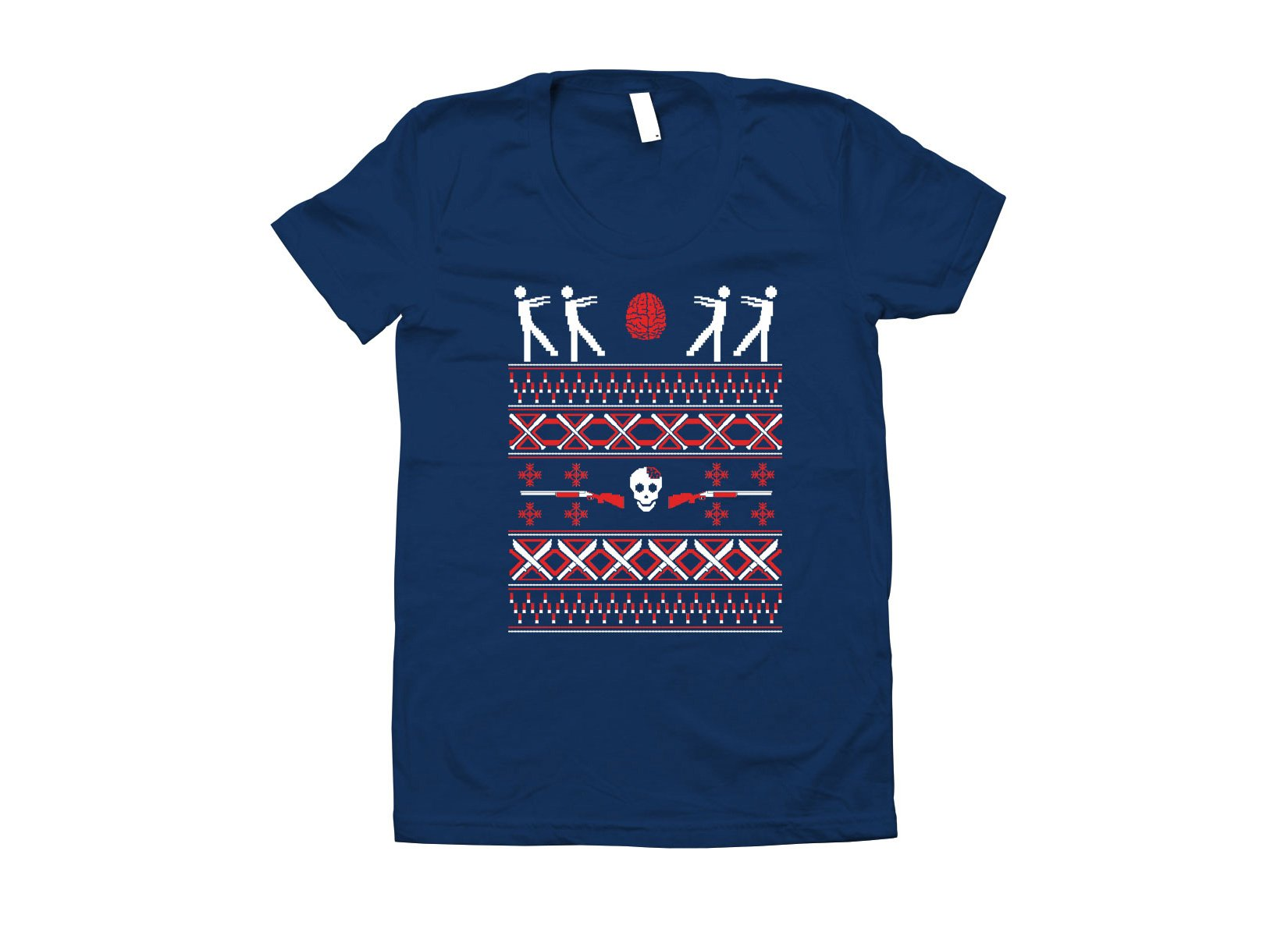 Zombie Christmas Sweater on Juniors T-Shirt