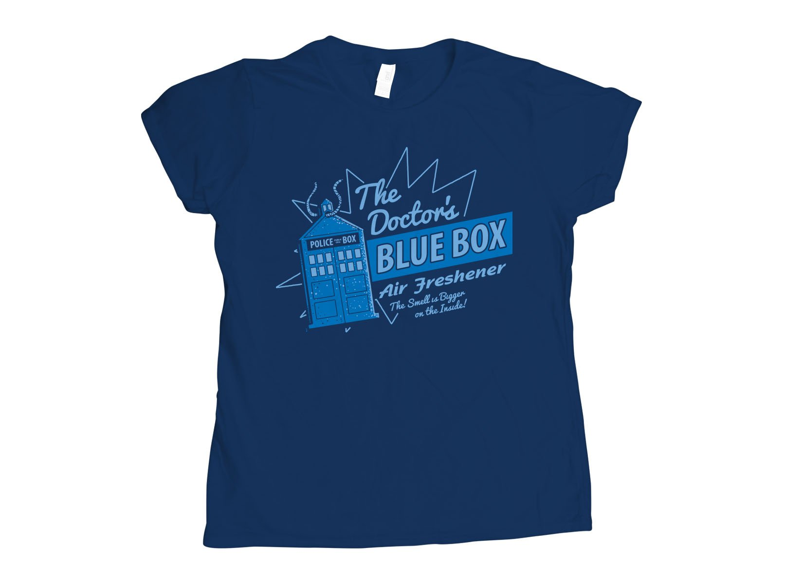 Blue Box Air Freshener on Womens T-Shirt