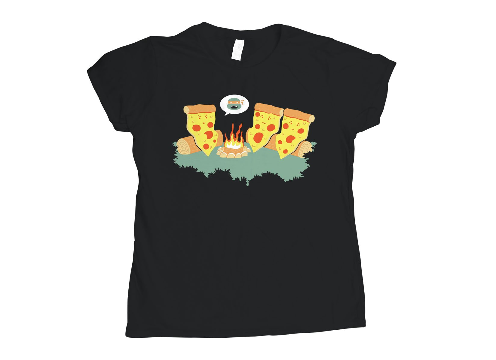Pizza Campfire Story on Womens T-Shirt