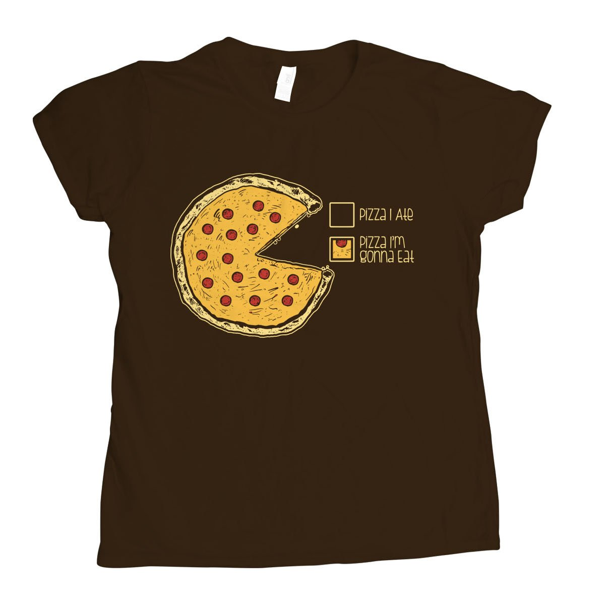 Pizza Pie Chart on Womens T-Shirt