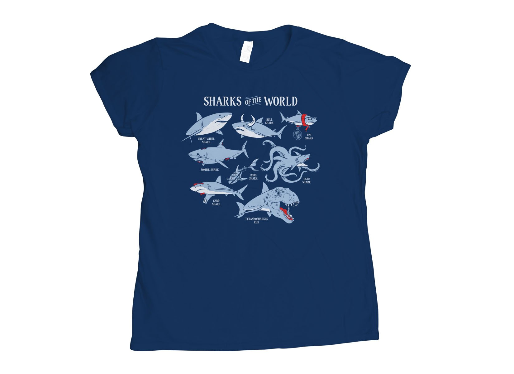 Sharks Of The World on Womens T-Shirt