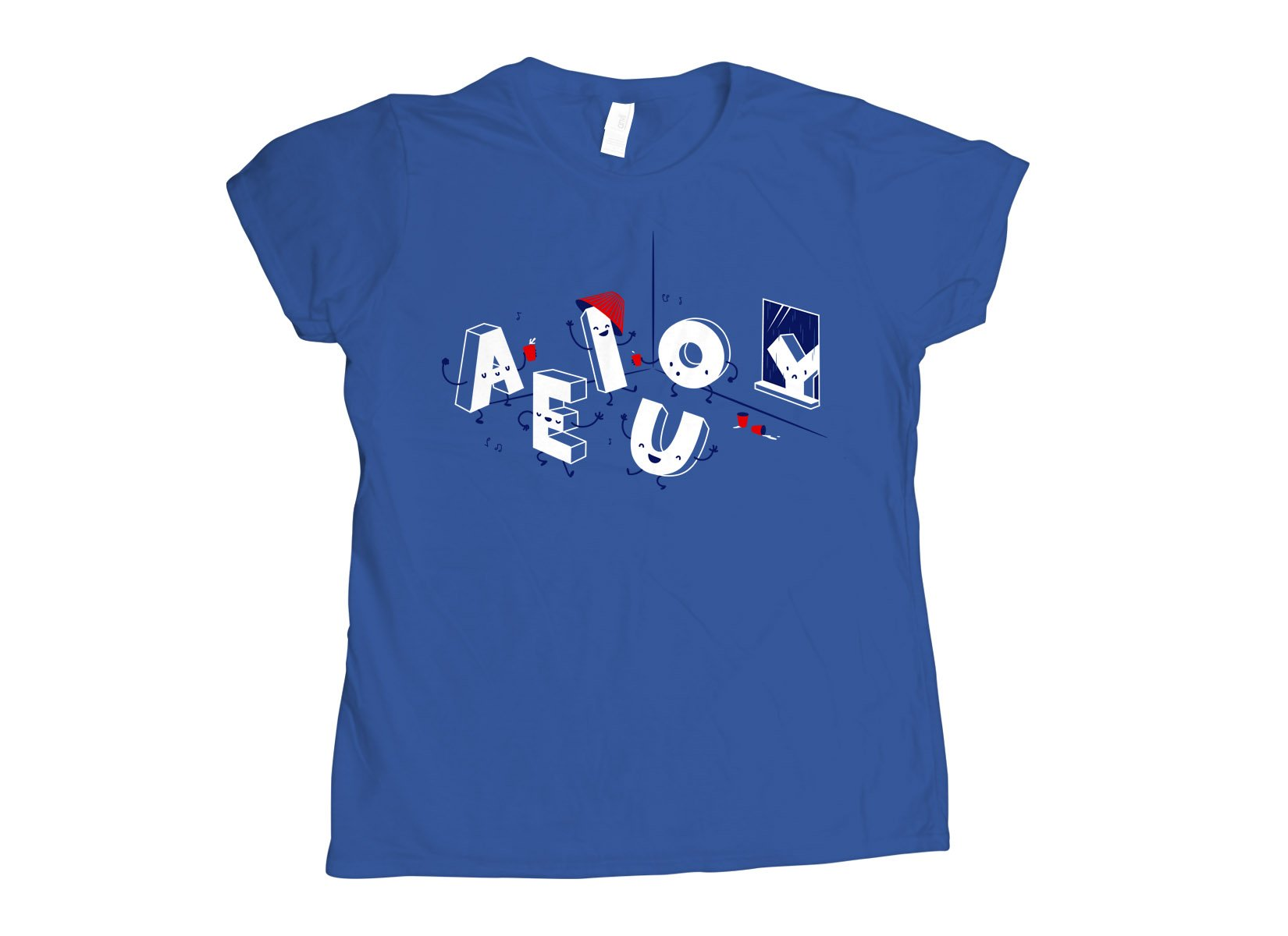 Vowel Party Time on Womens T-Shirt