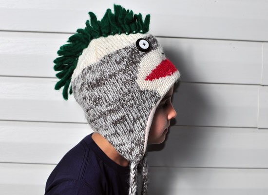 Mohawk Sock Monkey Hat on Mens Hats