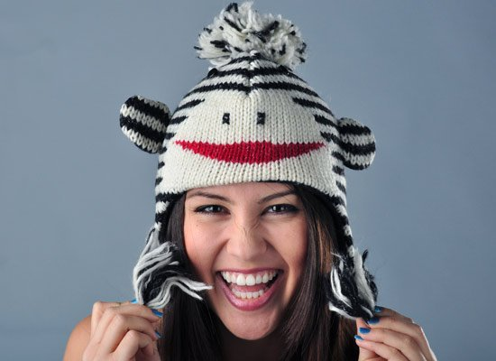 Stripe Sock Monkey Hat on Mens Hats