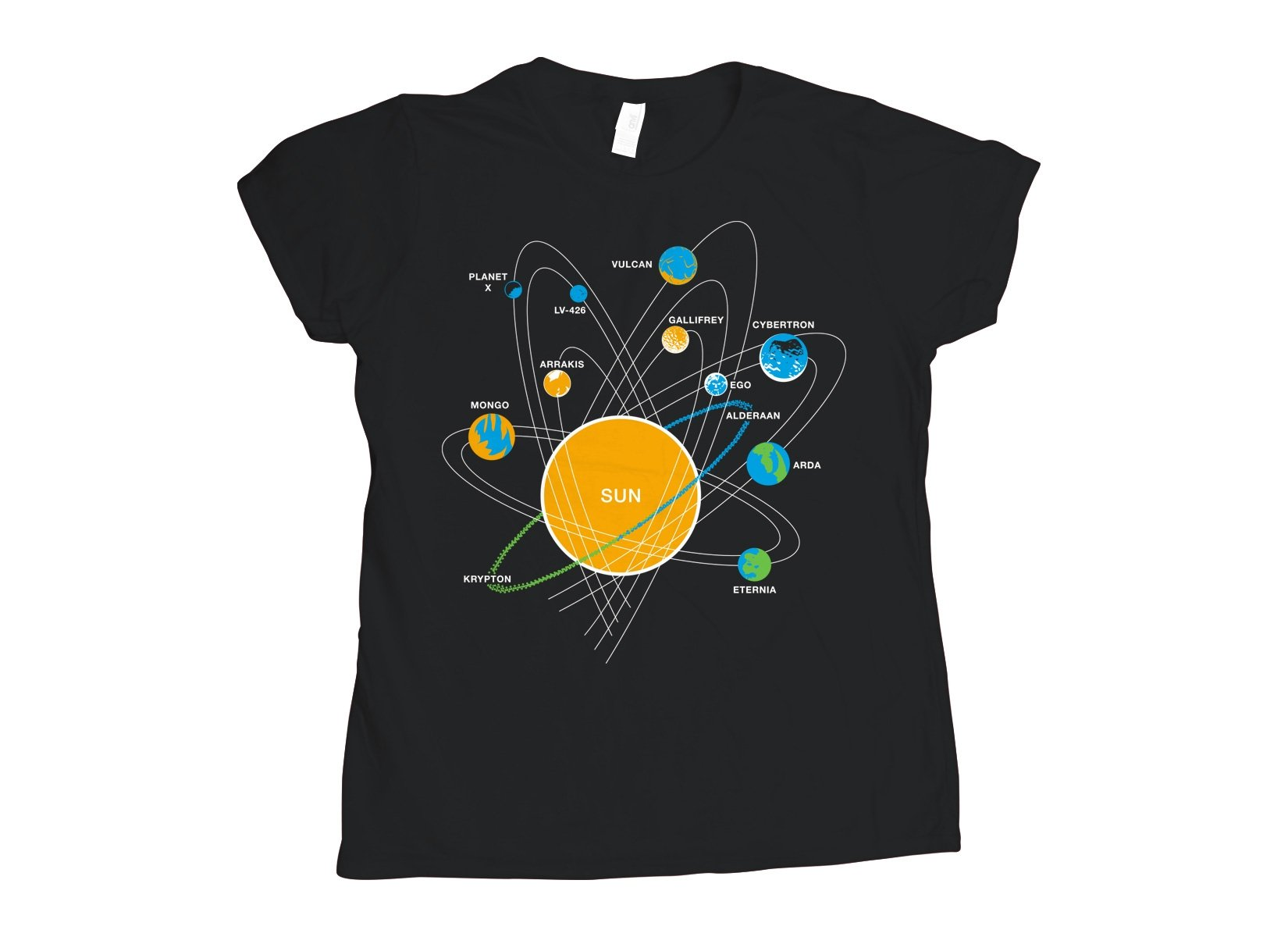 Solar System on Womens T-Shirt