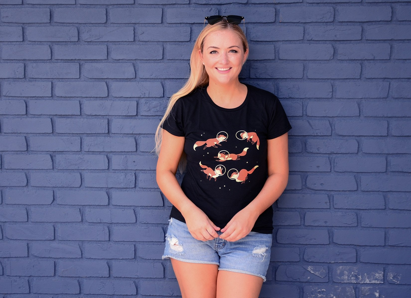 Foxes In Space on Womens T-Shirt