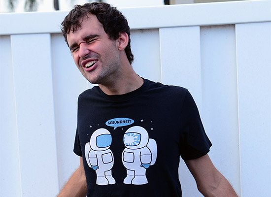 Space Sneeze on Mens T-Shirt