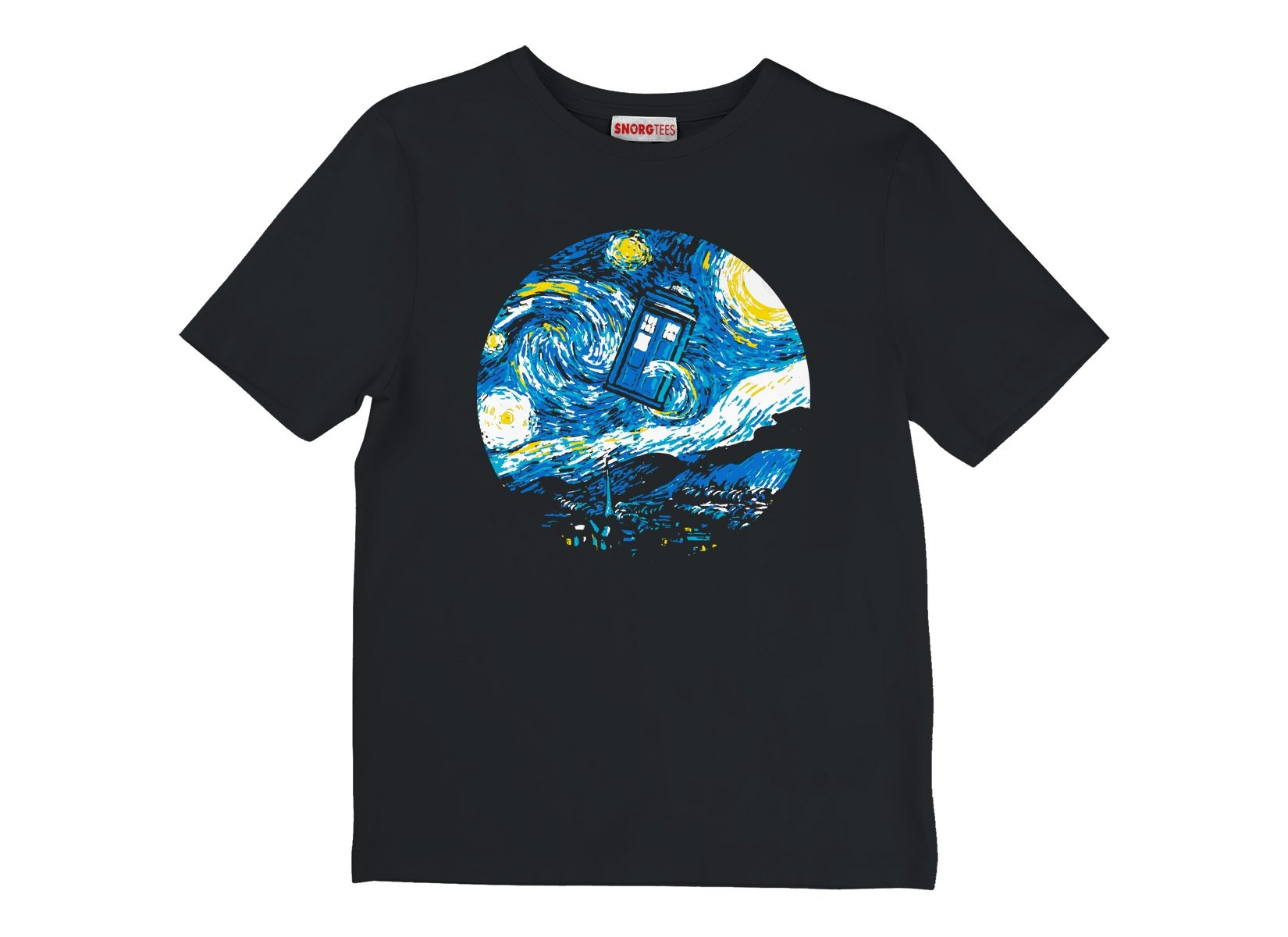 Starry Night Police Box on Kids T-Shirt