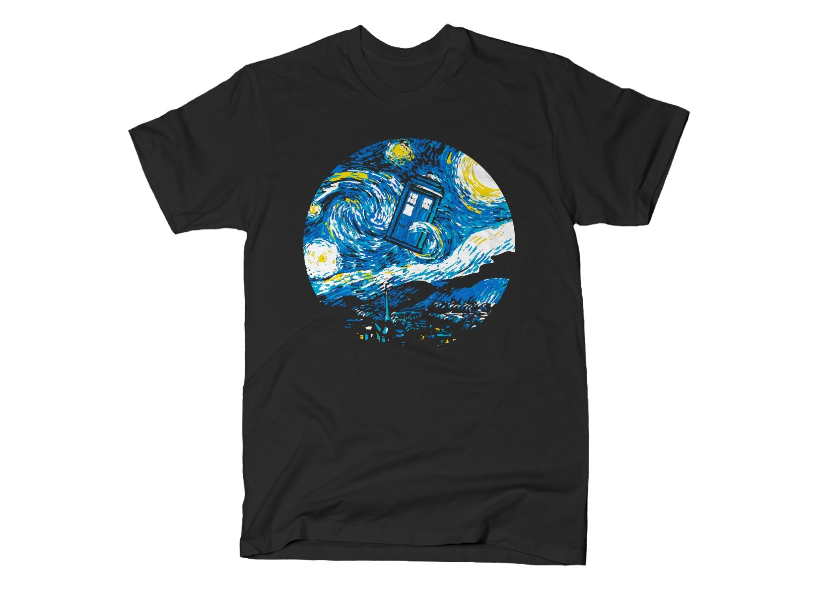 Starry Night Police Box on Mens T-Shirt