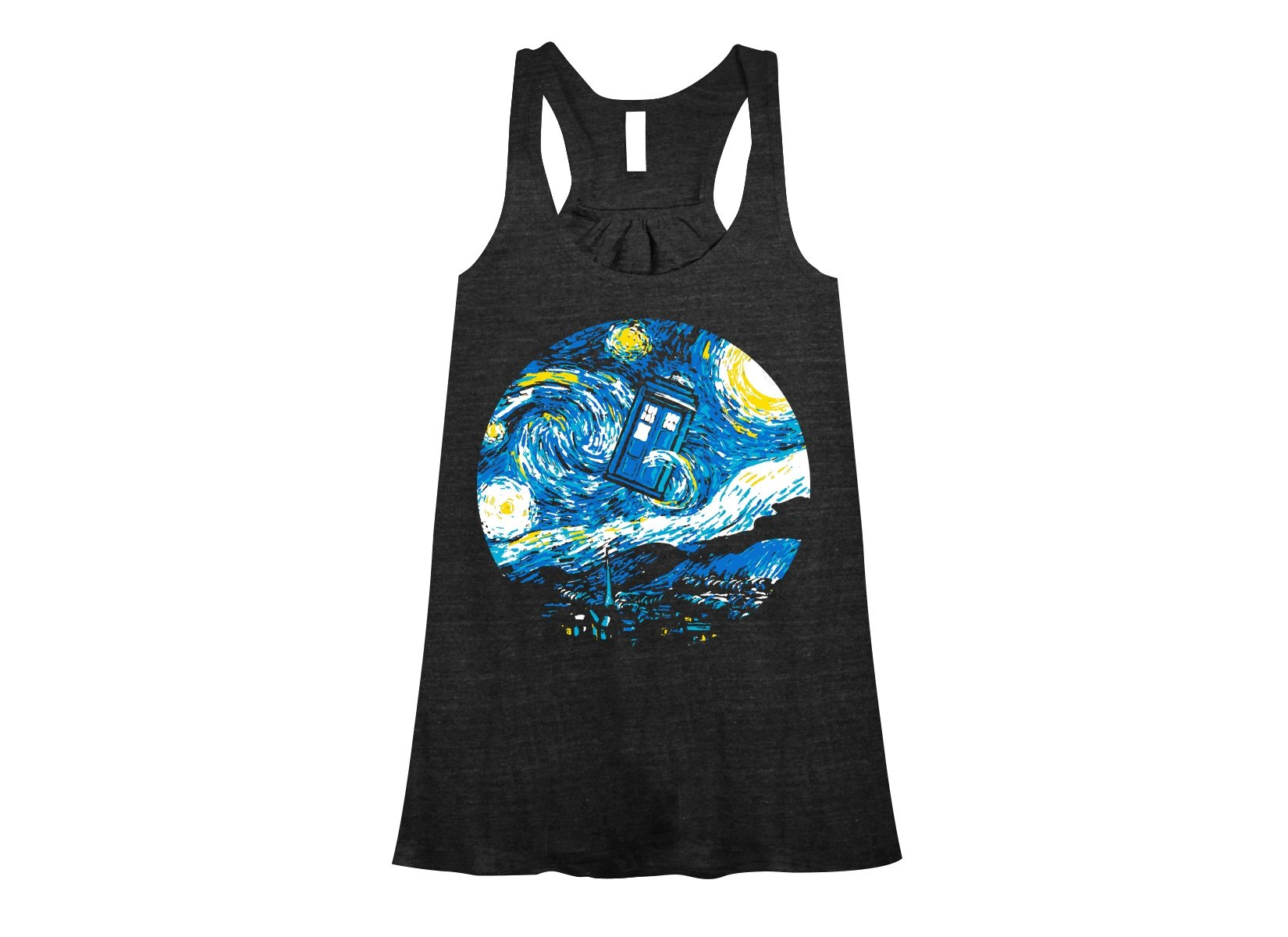 Starry Night Police Box on Womens Tanks T-Shirt