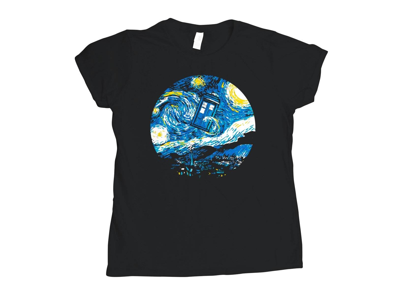 Starry Night Police Box on Womens T-Shirt