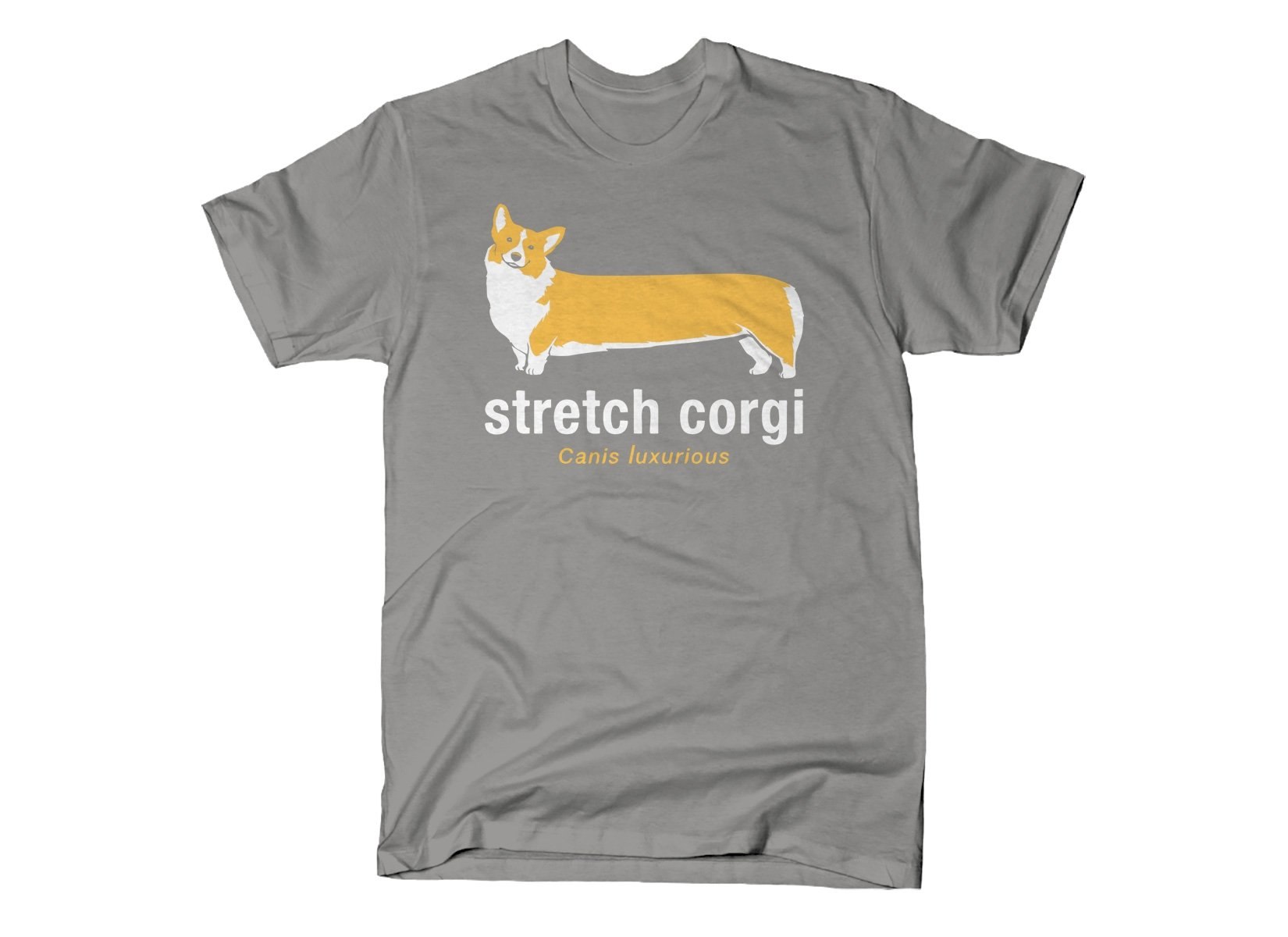 Stretch Corgi on Mens T-Shirt