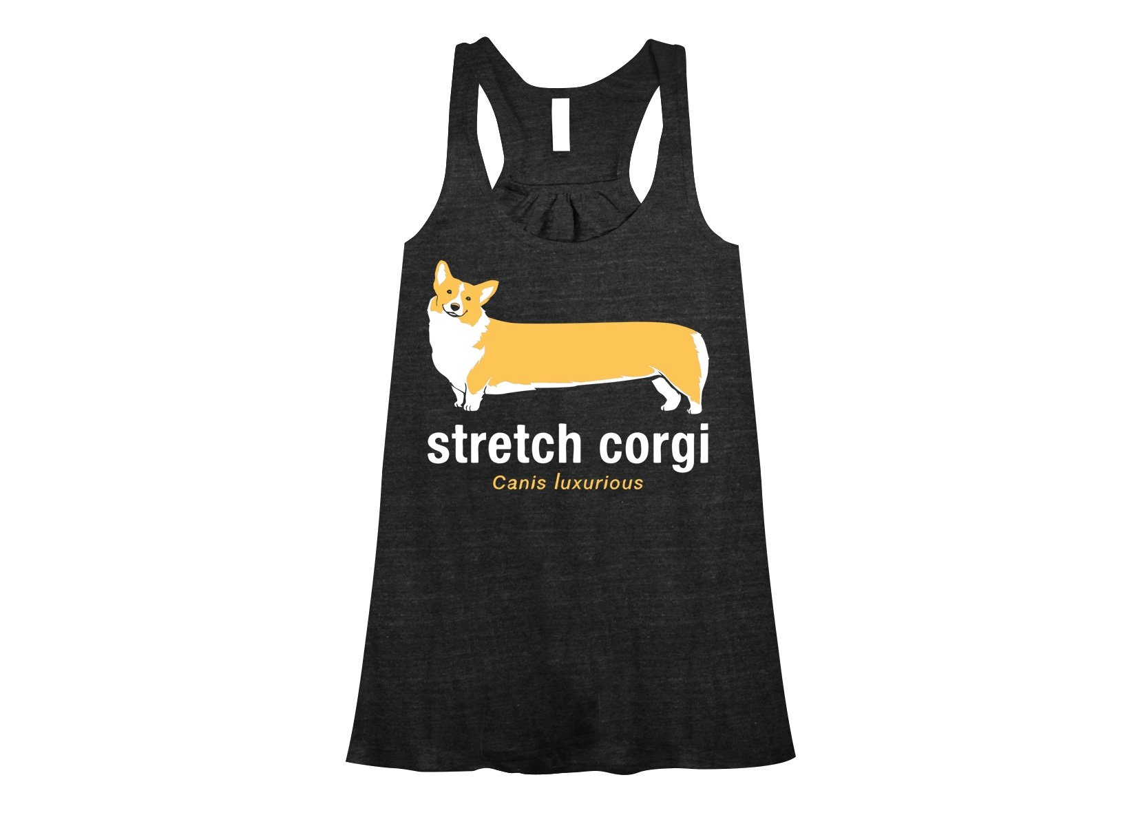 Stretch Corgi on Womens Tanks T-Shirt