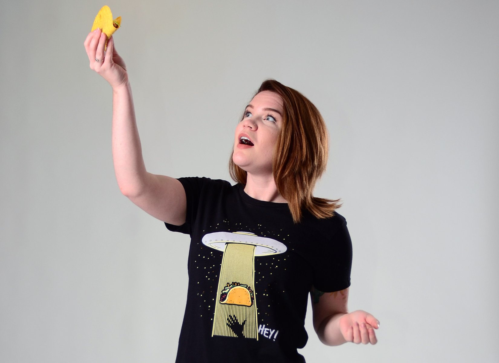 Taco Abduction on Womens T-Shirt