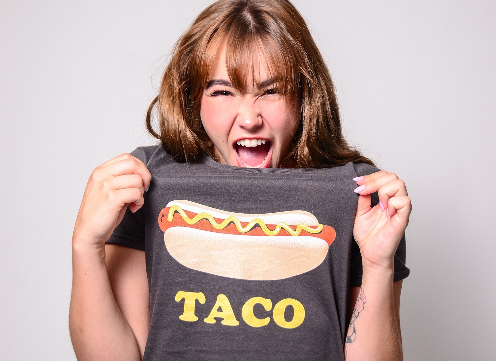 Hotdog Taco on Womens T-Shirt