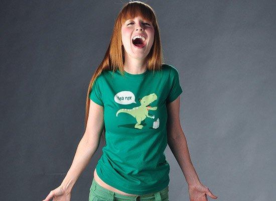 Tea Rex on Juniors T-Shirt