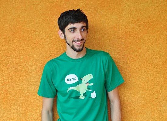 Tea Rex on Mens T-Shirt