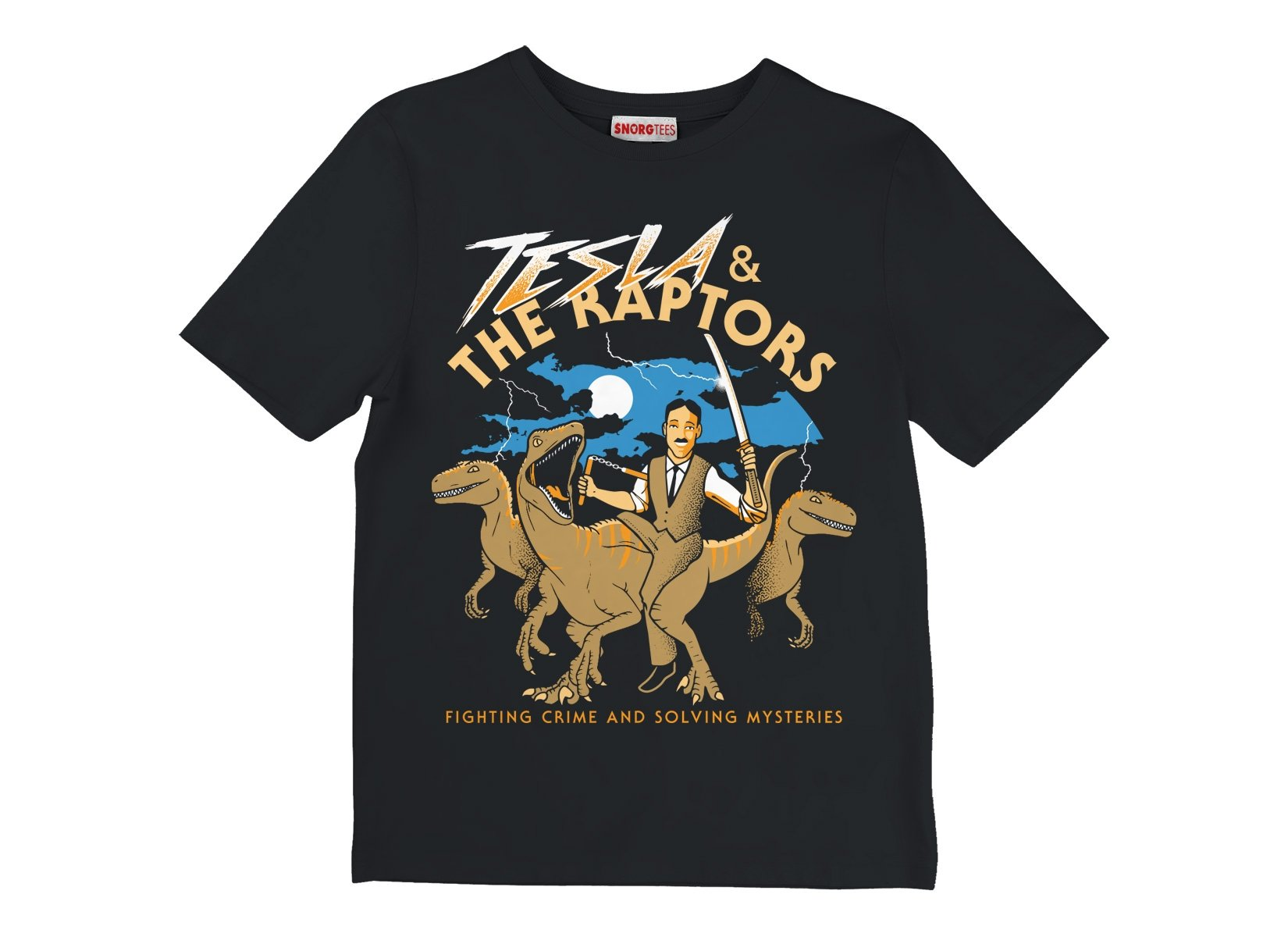 Tesla & The Raptors on Kids T-Shirt