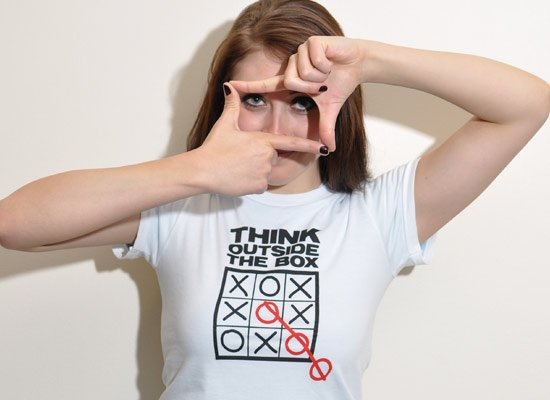 Think Outside The Box on Juniors T-Shirt