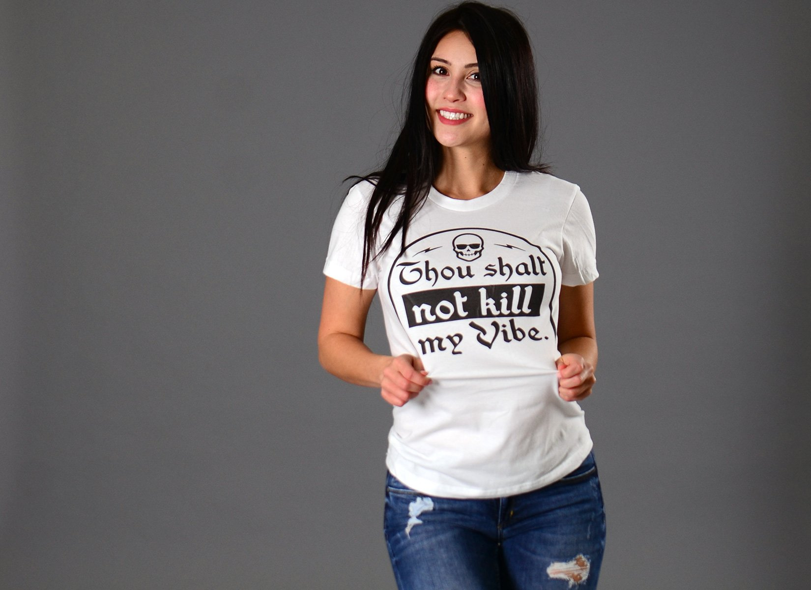 Thou Shalt Not Kill My Vibe on Juniors T-Shirt