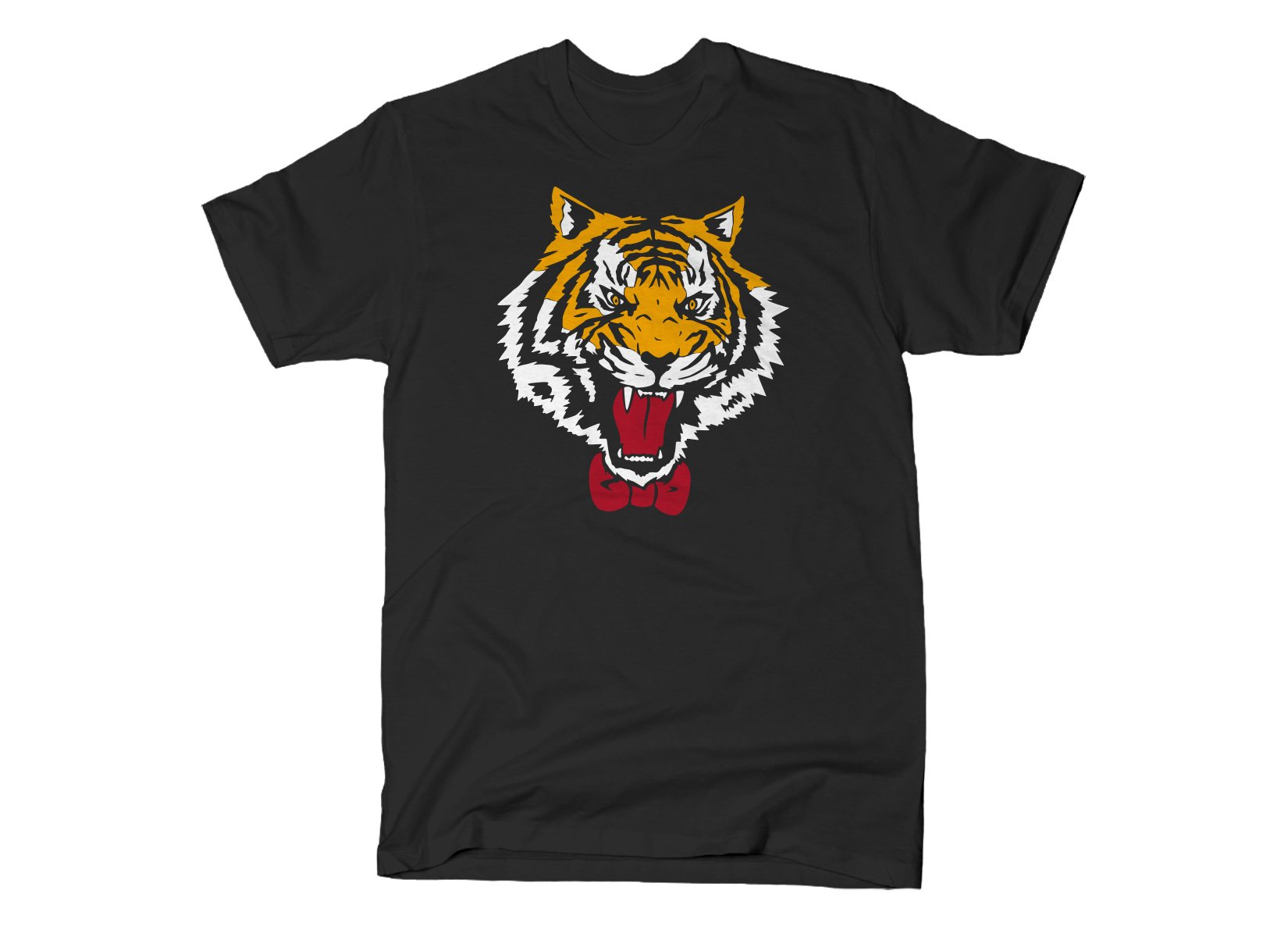 Tiger Bow Tie on Mens T-Shirt