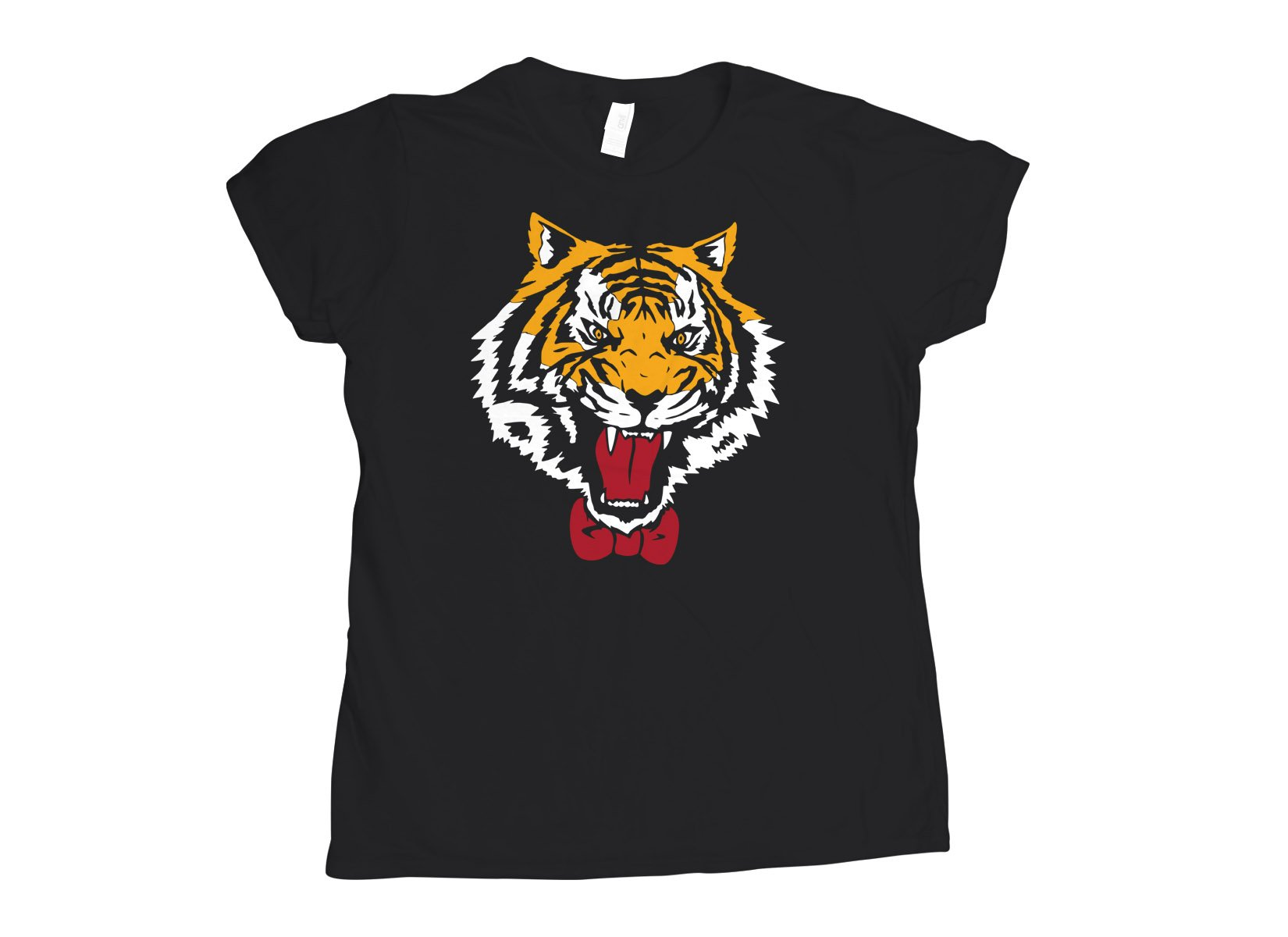 Tiger Bow Tie on Womens T-Shirt