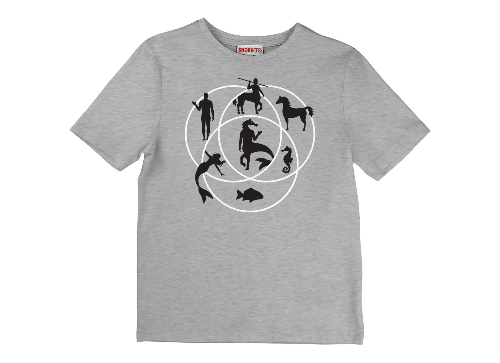 Human Horse Fish Venn Diagram on Kids T-Shirt