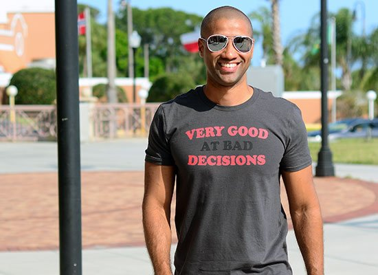 Very Good At Bad Decisions on Mens T-Shirt