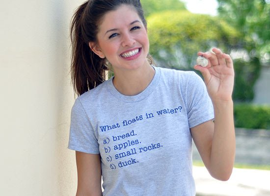 What Floats In Water? on Juniors T-Shirt