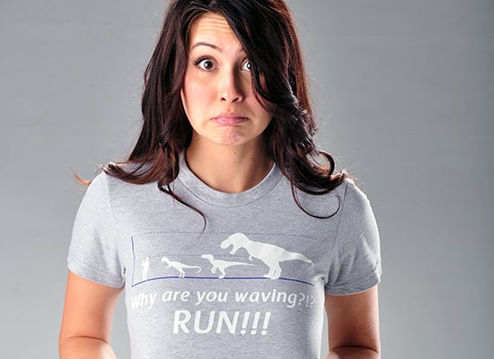 Why Are You Waving? Run! on Juniors T-Shirt