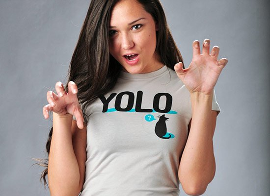 YOLO Cat on Juniors T-Shirt