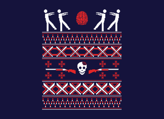 Zombie Christmas Sweater on Mens T-Shirt