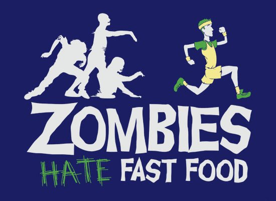 Zombies Hate Fast Food on Mens T-Shirt