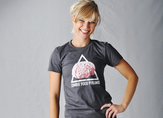 Zombie Food Pyramid on Juniors T-Shirt