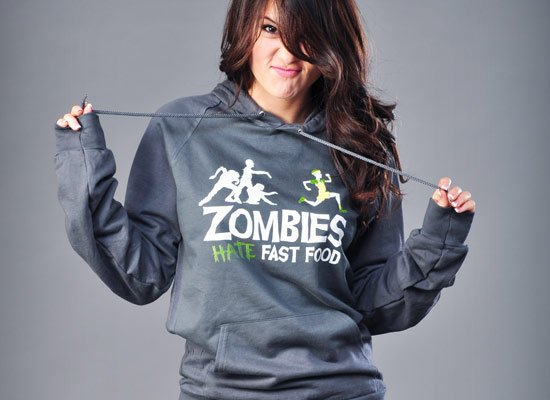 Zombies Hate Fast Food on Hoodie