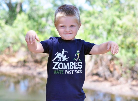 Zombies Hate Fast Food on Kids T-Shirt