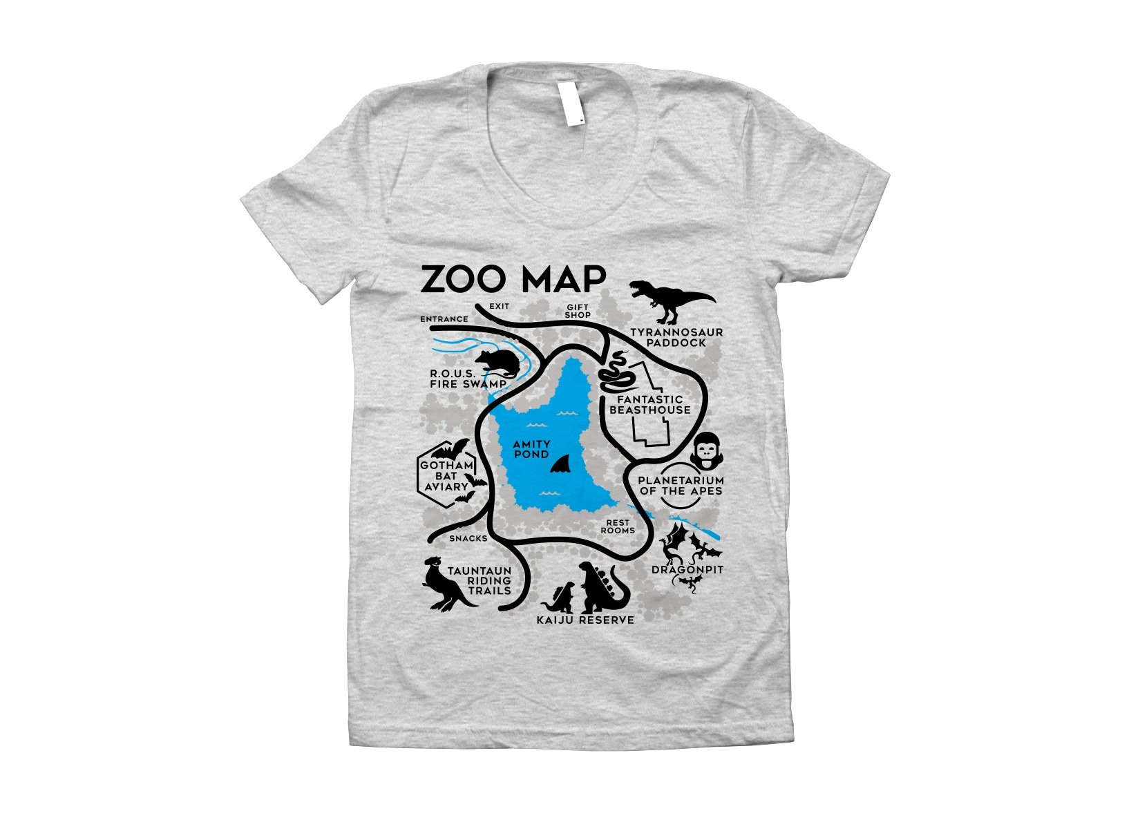 Zoo Map on Juniors T-Shirt
