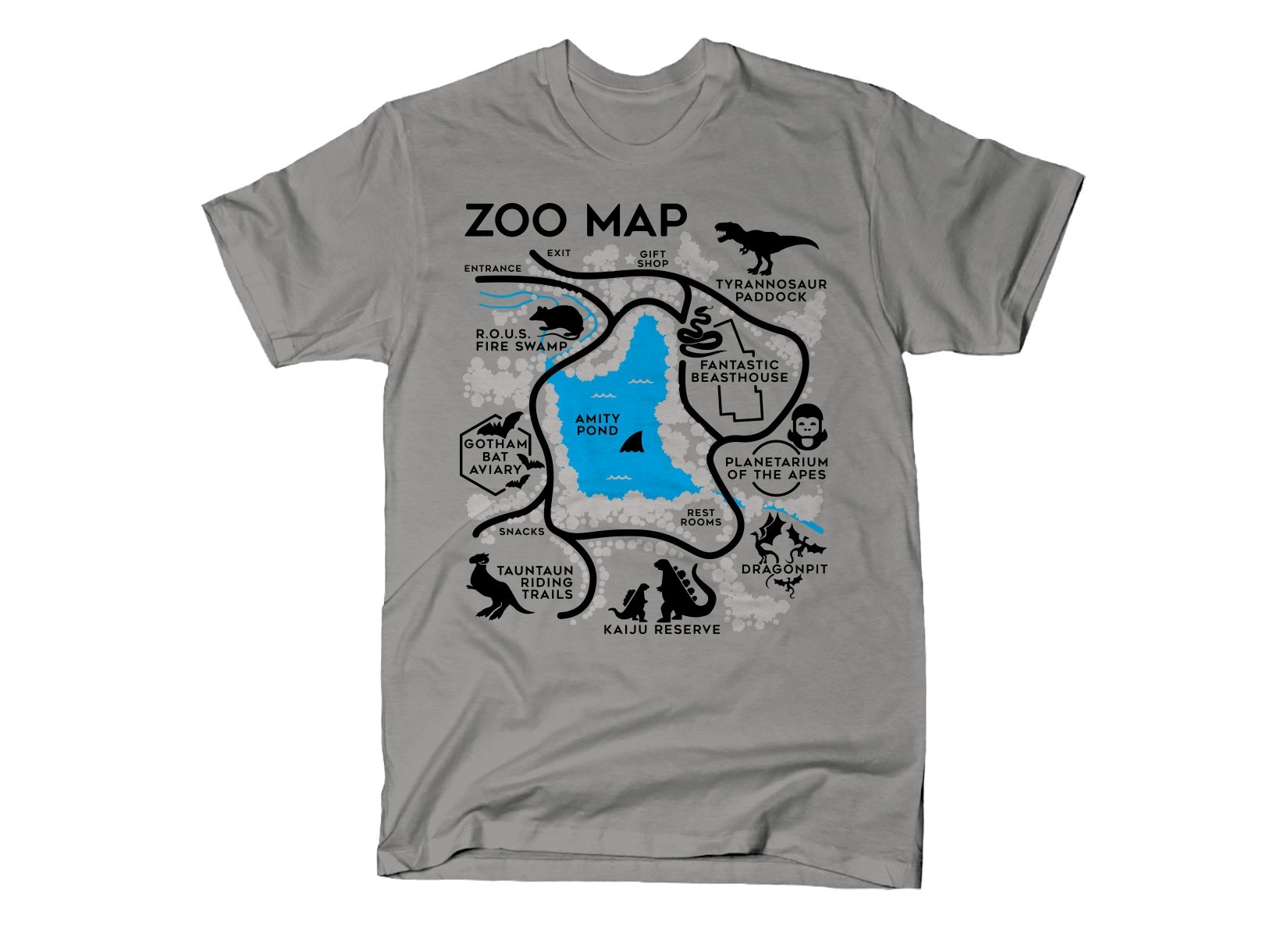 Zoo Map on Mens T-Shirt