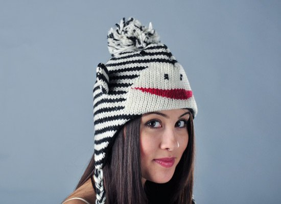 Stripe Sock Monkey Hat