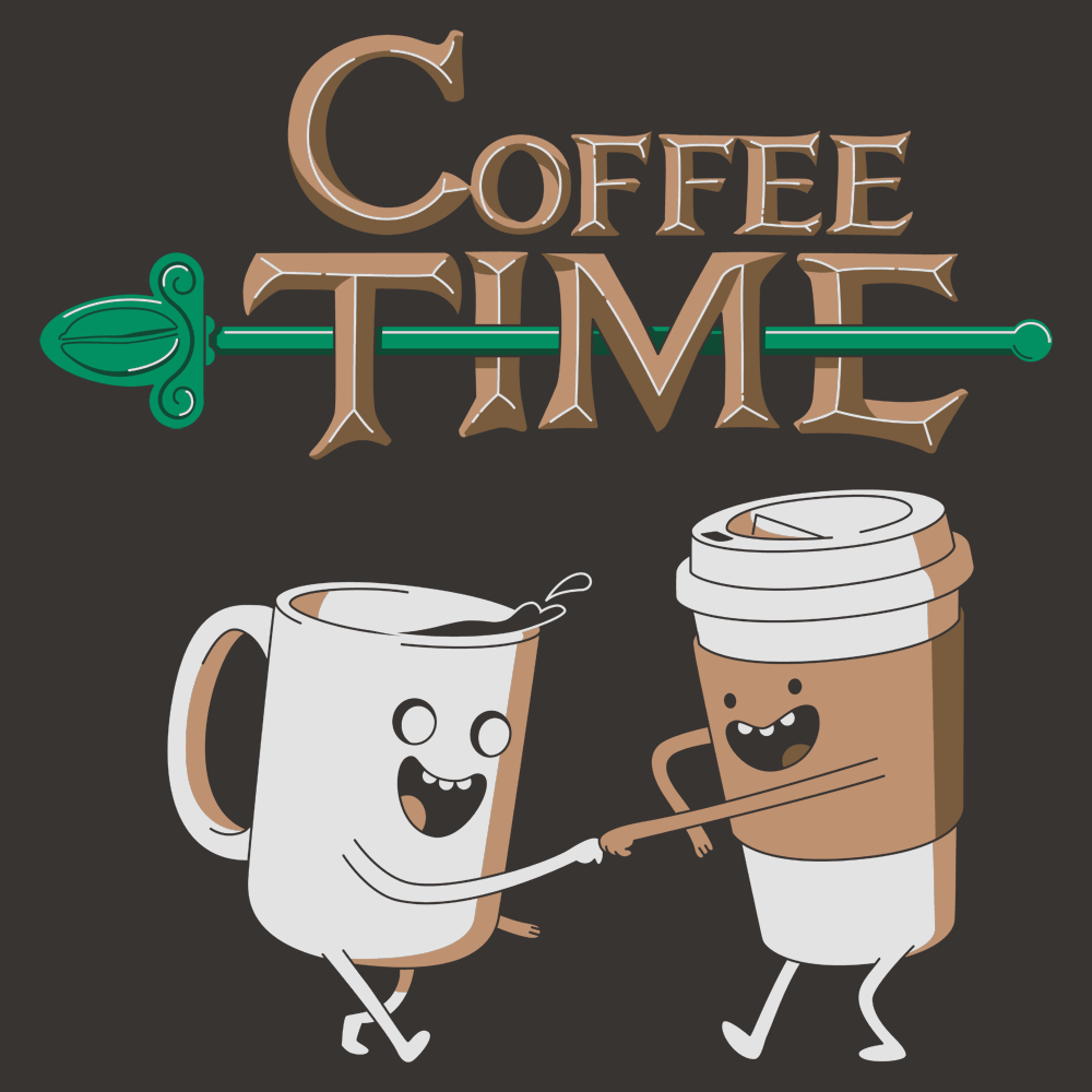 Set Of 3 Coffee Cup Canvas Wraps: Coffee Time T-Shirt
