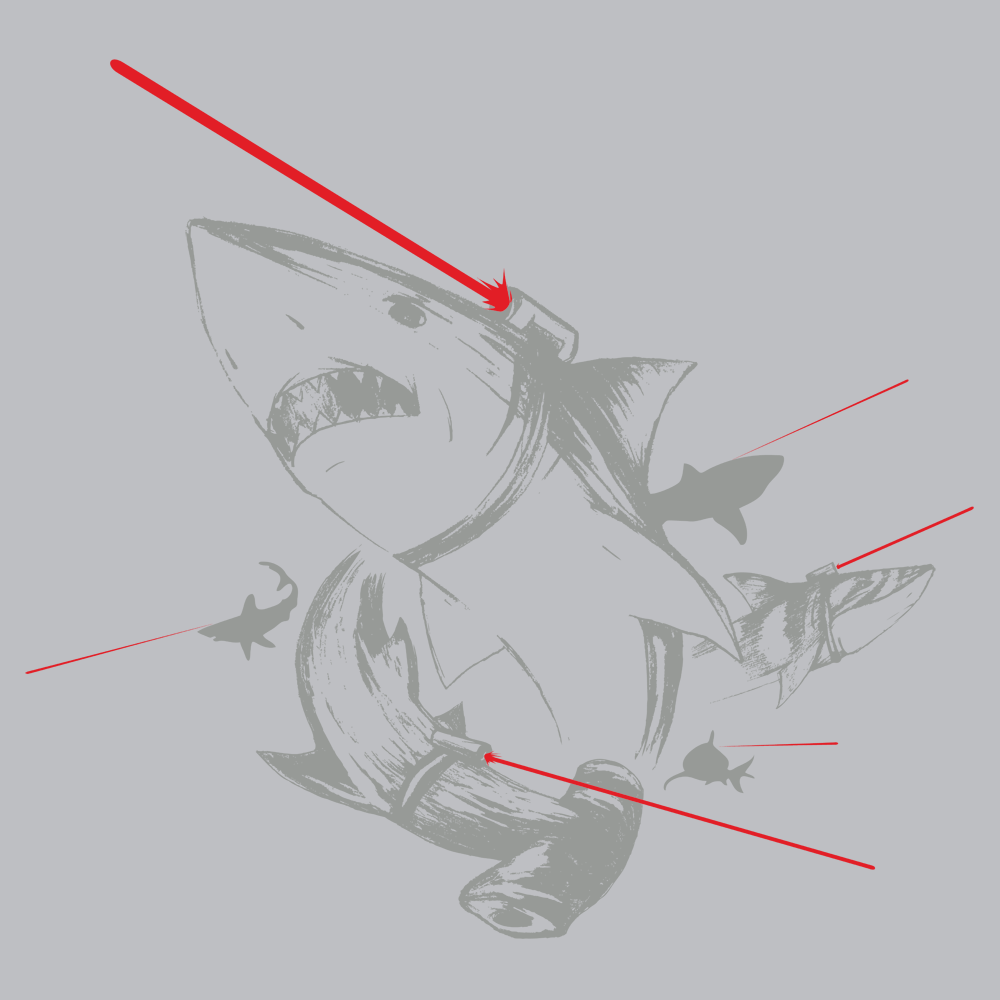 sharks with lasers t shirt snorgtees