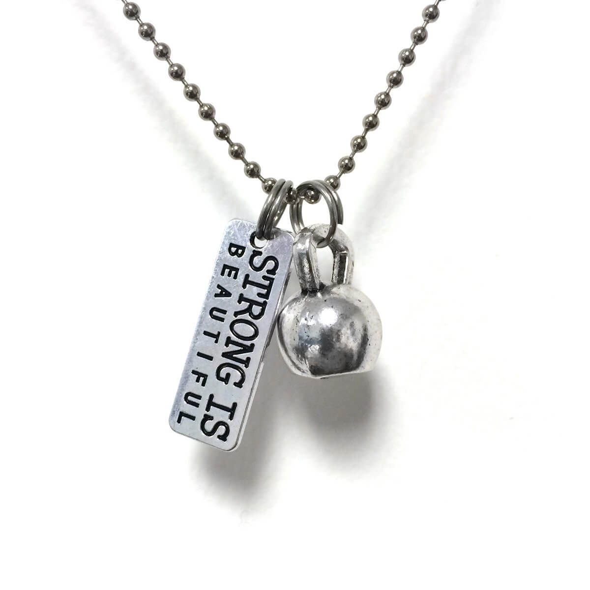 Kettlebell Strong Is Beautiful Necklace